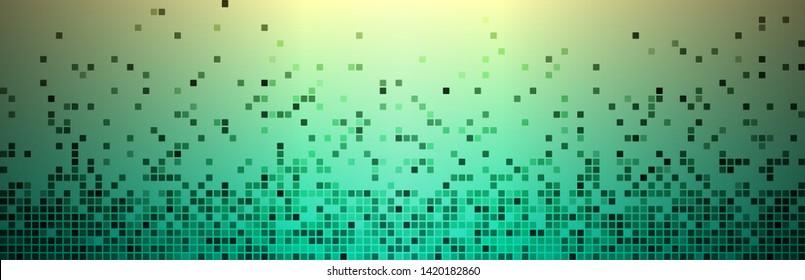 Digital pixels background. Black dots. Green gradient background. Use for decorative ornament or graphic element on digital media, website, etc. Vector illustration.