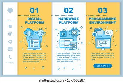 Digital platform onboarding mobile web pages vector template. Responsive smartphone website interface idea with linear illustrations. Programming webpage walkthrough step screens. Color concept