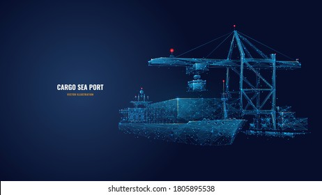 Digital polygonal cargo sea port. 3d ship, port crane and containers in dark blue. Container ships, transportation, logistics, business or worldwide shipping concept. Abstract vector mesh illustration