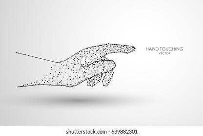 digital polygonal hand touching design