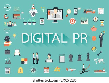 Digital PR vector concept with flat icons illustration for presentations and reports
