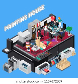 Digital print house with latest technology designers team providing solutions for customers projects isometric composition vector illustration