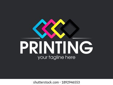 Digital print logo design template. Typography modern sign. Polygraphy and print factory. Express press and photocopy studio.