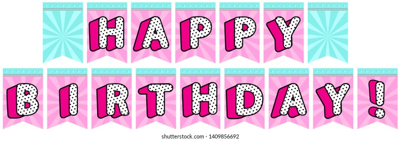 """Digital printable flags for decorating lol backdrop. Turquoise blue green and pink color with silver zipper. Letters banner for little doll. Vector spell """"HAPPY BIRTHDAY!"""" Template with picture place"""