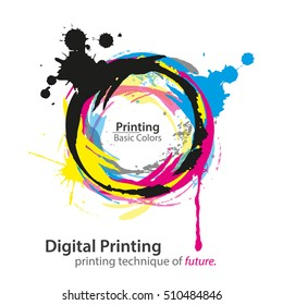 Digital Printing. Basic Printing Colors In Circle With Letter Of Color In Middle. Cyan, Magenta, Yellow and Black, Key. Vector Illustration