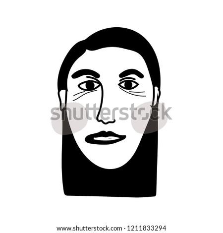 Digital Printing Minimalism Sketch Drawing Portrait Stock Vector
