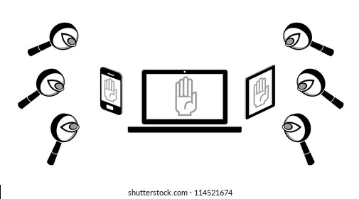 Digital privacy protection. Illustration that represents menaces to privacy on digital devices.