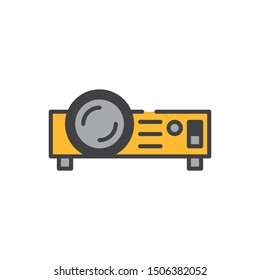 Digital projector flat icon, vector sign, Projector device colorful pictogram isolated on white. Symbol, logo illustration. Flat style design