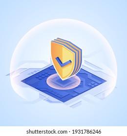 Digitales Schutzkonzept Schild mit Markierung auf Mikrochip in isometrischem Design. Schutz vor Hacking, Verletzung personenbezogener Daten Bedrohung. Vektorgrafik des Antivirenprogramms für Web-Sicherheitstechnologie