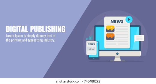 Digital publishing, content marketing, guest blogging flat design vector banner with icons and texts