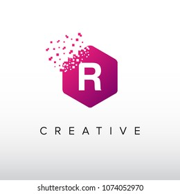Digital R Letter. Letter R Design Vector