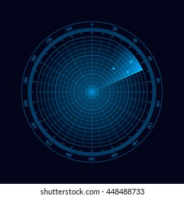 Digital radar with the aims on monitor. Isolated on black background. Vector illustration, eps 10.