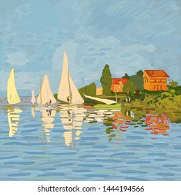 """Digital reproduction of the painting """"Regatta in Argenteuil"""" by Claude Monet (1872). Impressionism style. Vector."""