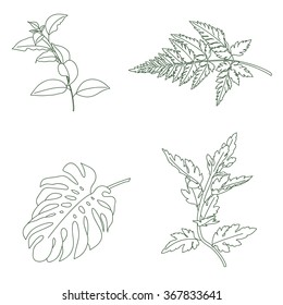 Digital rubber floral stamps. Isolated over white background. Hand drawn illustration