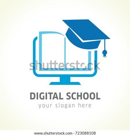 digital school book online education logo のベクター画像素材