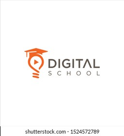 Digital School Logo Design Stock Vectors . Education logo.