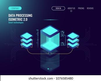 Digital science concept, server room, cloud storage, data exchange, computer memory, abstract lighting isometric, dark neon vector