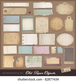 digital scrapbooking kit: old paper - different aged paper objects for your layouts