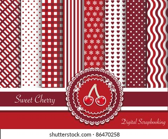 Digital scrapbooking ribbon swatches in red tones with rosette and sweet cherry sticker. EPS10 vector format.