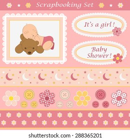 Digital scrapbooking set for baby girl. Design elements for your layouts or scrapbooking projects. Vector illustration.