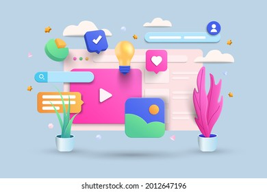 Digital Screen 3D Illustration, Video player, gallery, development, seo analysis concept with floating elements. Development banner design with 3d rendering. Vector Illustration