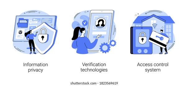 Digital security abstract concept vector illustration set. Information privacy, verification technologies, access control system, data access, user password, social media account abstract metaphor.