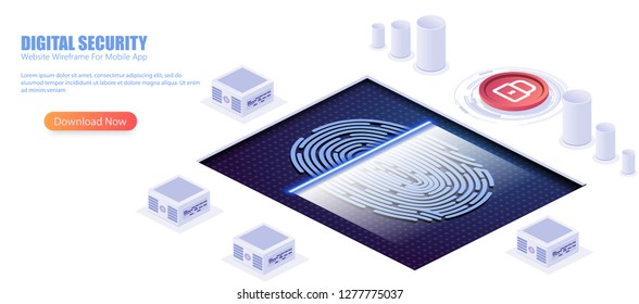 Digital security access with biometrics data isometric vector concept with fingerprint sensor or scanner connected to computers or network servers illustration