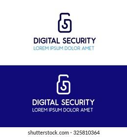 Digital security blue corporate logo design key lock