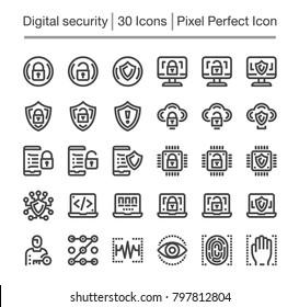 digital security line icon set