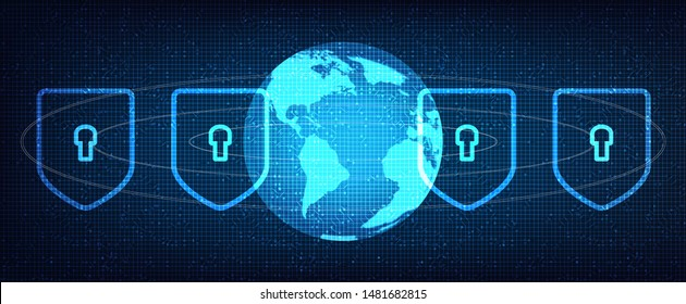 Digital Security Network on Global Technology Background,Connection and Communication Concept design,Vector illustration.