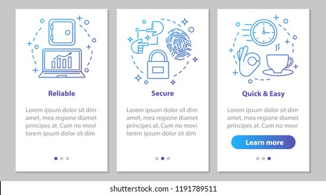 Digital services onboarding mobile app page screen with linear concepts. Business software. Security, quick and easy launch, reliable service steps instructions. UX, UI, GUI vector illustrations