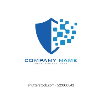 Digital Shield Tech Logo Design Template