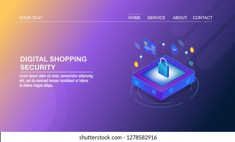 Digital shopping, Security, Secure shopping, payment gateway, credit card information safety flat 3D isometric banner
