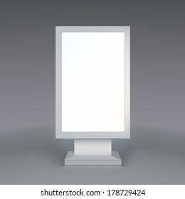 Digital Signage. Blank advertising billboard on gray background