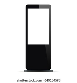 Digital signage with blank screen isolated on white background. Mockup to showcasing information or advertising. Vector illustration