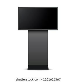 Digital signage monitor mockup - front view. Vector illustration