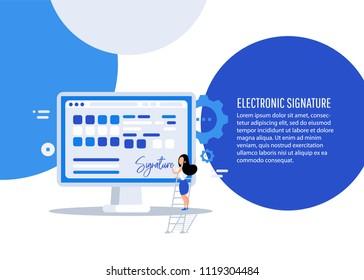 Digital signature. Businesswoman puts signature.  Flat 3d web isometric contract signature infographic concept vector