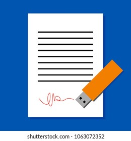 Digital signature concept. White sheet of paper subscribed by USB flash. Simple flat illustration of document and electronic device.