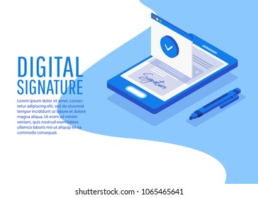 Digital signature. Flat 3d web isometric contract signature infographic concept vector