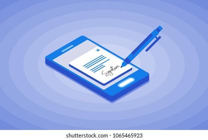 Digital signature. Flat 3d web isometric contract signature infographic concept vector