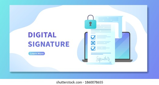Digital signature on electronic contract, web banner. Opened laptop with smart or electronic contract with digital sign up. Concept of data protection and user privacy policy, online deal