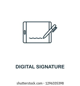 Digital Signature outline icon. Thin line style design from blockchain collection. Creative digital signature icon for web design, apps, software, printing usage.
