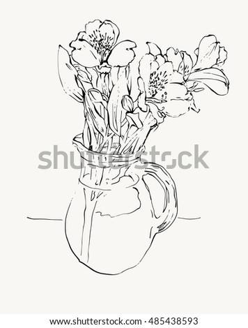 Digital Sketch Drawing Flower Vase Isolated Stock Vector Royalty