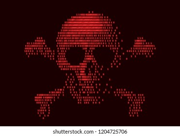 Digital skull and crossbones on binary code. Eps8. RGB. Global colors