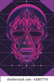 digital skull with electronic circuits,vector illustration