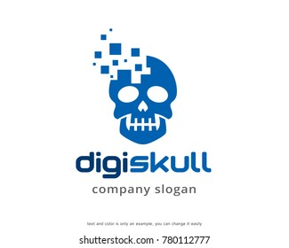 Digital Skull Logo Template Design Vector, Emblem, Design Concept, Creative Symbol, Icon