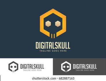 Digital Skull Logo Vector Design Template