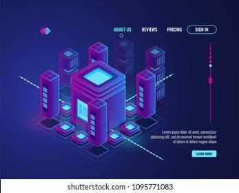 Digital smart city concept, big data transmission and processing, data center warehouse, data science, server room isometric vector dark ultra violet neon