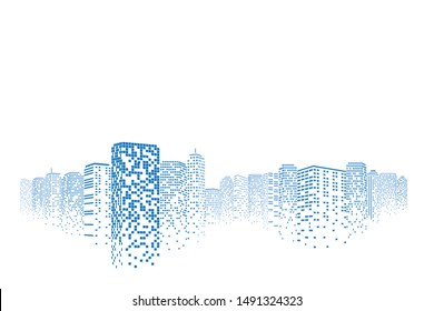 Digital or smart city illustration. Perspective building. City scene on night time. Isolated or white background.