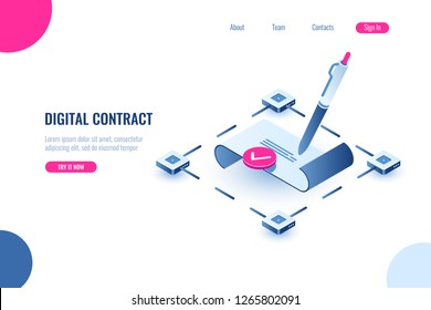 Digital smart contract, isometric icon concept of electronic signature, blockchain technology crypto, paper receipt of payment, verified document, flat vector illustration, blue and pink color